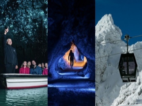 Discover the breath-taking beauty of the North Island's two most spectacular natural environments below ground AND above the clouds with this unique combo experience. Explore a subterranean, glowworm-studded underworld at Waitomo Caves and journey high above a world-heritage-listed mountain area on Mt Ruapehu's Sky Waka gondola. Ride the country's most advanced gondola, high above the world-heritage-listed mountain area.